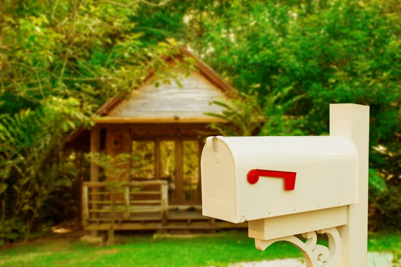 mail box outside a cottage